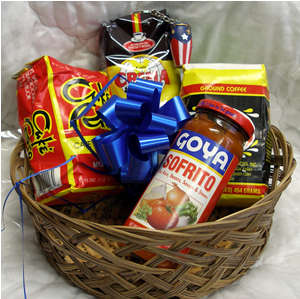Puerto Rico Gift Basket with Cafe Crema Expresso, Sofrito Goya, Cafe Yaucono , Cafe Rico, and a Key chain