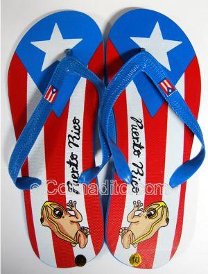 Puerto Rico Flip Flops Sandals Shoes Flag Coqui cuatro