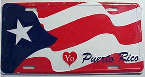 puerto rican flag licence plate tablilla con la bandera de puerto
